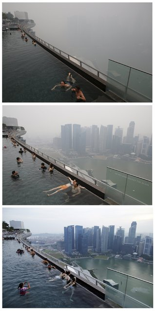A combination photo shows people relaxing in an infinity pool overlooking the skyline of the central business district shrouded by haze in Singapore at around 6pm local time September 14 (top), around 5pm local time September 14 (C) and July 10, 2015. (Photo by Edgar Su/Reuters)