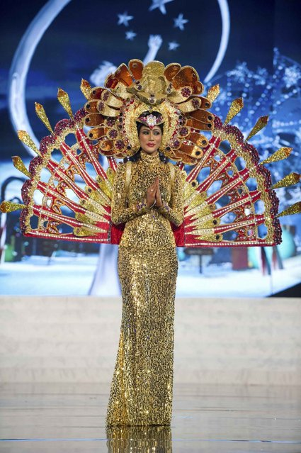 Miss Sri Lanka Sabrina Herft on stage at the 2012 Miss Universe National Costume Show on Friday, December 14, 2012 at PH Live in Las Vegas, Nevada. The 89 Miss Universe Contestants will compete for the Diamond Nexus Crown on December 19, 2012. (Photo by AP Photo/Miss Universe Organization L.P., LLLP)