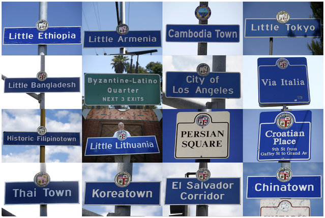 A combination photograph shows Los Angeles area street signs which mark the boundaries of neighbourhoods in Los Angeles, Long Beach and San Pedro, California in pictures taken between August 7 to 19, 2014. The Little Lithuania sign has been approved by the city, but not put up yet, and is held by Joseph Pupius, 79, who is from Lithuania. (Photo by Lucy Nicholson/Reuters)