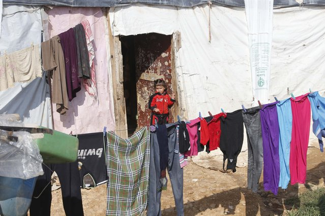 A Syrian refugee girl stands outside a tent at a refugee camp in Zahle in the Bekaa valley November 18, 2014. (Photo by Mohamed Azakir/Reuters)