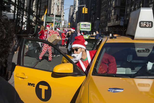 A man dressed in a holiday theme  costume enters a taxi during SantaCon, Saturday, December 13, 2014, in New York. SantaCon organizers retained lawyer Norman Siegel  last week as part of an effort to tame the excesses of the daylong party.  Siegel said the government cannot ban SantaCon. But he said the government can reasonably regulate the event. (Photo by John Minchillo/AP Photo)