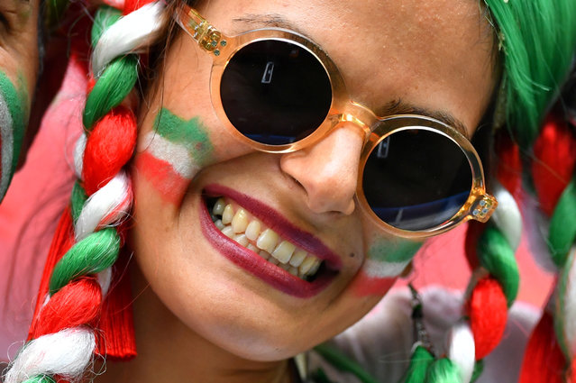 An Iran fan attends the Russia 2018 World Cup Group B football match between Morocco and Iran at the Saint Petersburg Stadium in Saint Petersburg on June 15, 2018. (Photo by Dylan Martinez/Reuters)