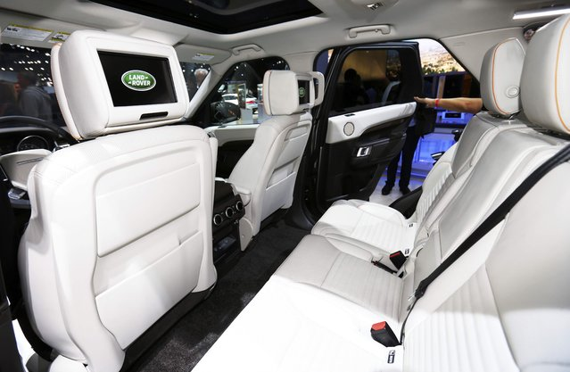 The back seat interior of the 2017 Land Rover Discovery is pictured at the 2016 Los Angeles Auto Show in Los Angeles, California, U.S November 16, 2016. (Photo by Mike Blake/Reuters)
