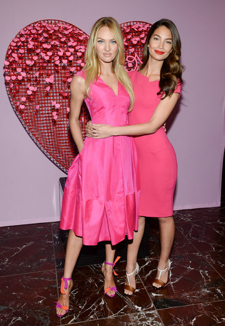 Victoria's Secret Angels Candice Swanepoel, left, and Lily Aldridge pose during a Valentine's Day gift idea photo call  at Victoria's Secret Herald Square on Thursday, February 5, 2015, in New York. (Photo by Evan Agostini/Invision/AP Photo)