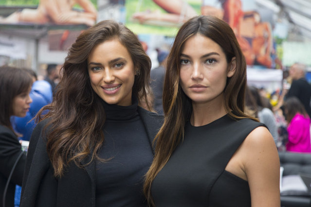 Sports Illustrated swimsuit models Irina Shayk and Lily Aldridge pose for a photo at the SwimCity festival in New York City on Monday February 9, 2015. (Photo by Gordon Donovan/Yahoo News)