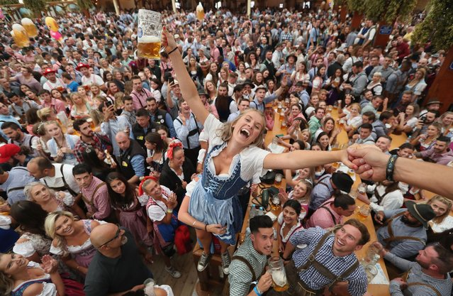 Visitors celebrate in a beer tent on the opening day of the 2018 Oktoberfest beer festival on September 22, 2018 in Munich, Germany. The Oktoberfest lasts until October 7 and is the world's largest beer festival. The beer festival typically draws over six million visitors. (Photo by Alexandra Beier/Getty Images)
