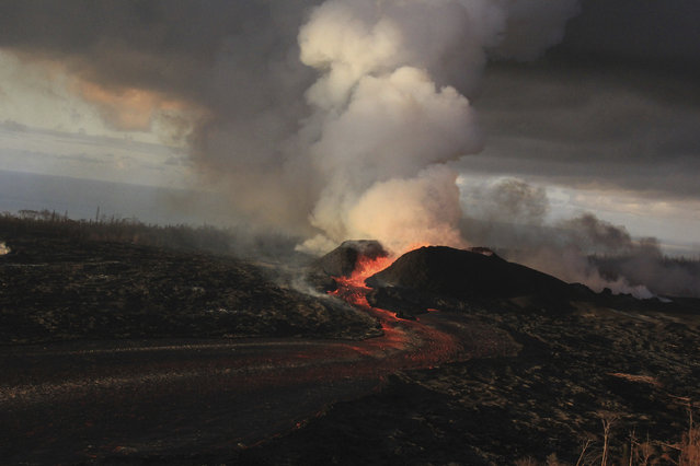 This June 30, 2018 file photo from the U.S. Geological Survey shows fountains from the fissure 8 spatter cone continuing to supply lava to an open channel above the former village of Kapoho on the island of Hawaii. (Photo by U.S. Geological Survey via AP Photo)
