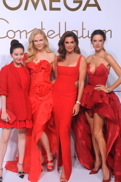 (L-R) Chinese actress Cecilia Liu Shishi, Australian actress Nicole Kidman, American model Cindy Crawford and Brazilian model Alessandra Ambrosio pose during an Omega new product launch event on October 23, 2018 in Shanghai, China. (Photo by VCG/VCG via Getty Images)