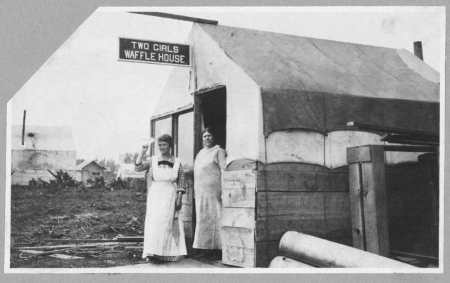 Two women stand outside the Two Girls Waffle House, circa 1900-1916, in this Library of Congress handout photo. (Photo by Reuters/Bain Collection/Library of Congress)