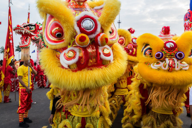 Lion dancers prepare to perform in front of the Royal Palace on January 30, 2014 in Phnom Penh, Cambodia. (Photo by Nicolas Axelrod/Getty Images)