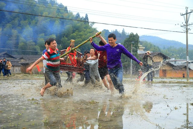 People carry a statue of the God of fortune as they run through a field during a local celebrating event to wish for good luck and fortune, in Longyan, Fujian province, China, February 10, 2017. (Photo by Reuters/Stringer)