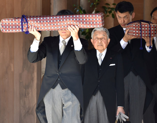 Japan's Emperor Akihito leaves at the Outer shrine of Ise Jingu shrine in Ise in the central Japanese prefecture of Mie, on April 18, 2019. (Photo by Kazuhiro Nogi/Pool via Reuters)