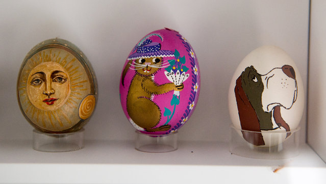 Decorated eggs are seen at the egg museum in Winden am See, Austria, March 25, 2016. (Photo by Christian Bruna/EPA)