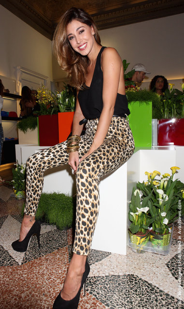 Belen Rodriguez  attends the Giuseppe Zanotti Design Spring/Summer 2012 collection press preview as part Milan Womenswear Fashion Week