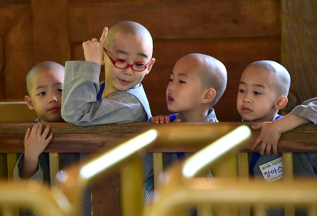 """Young novice Buddhist monks wait to ride a roller coaster as they visit the Everland amusement park during their training program entitled """"Children Becoming Buddhist Monks"""" in Yongin, south of Seoul, on May 21, 2015. (Photo by Jung Yeon-Je/AFP Photo)"""