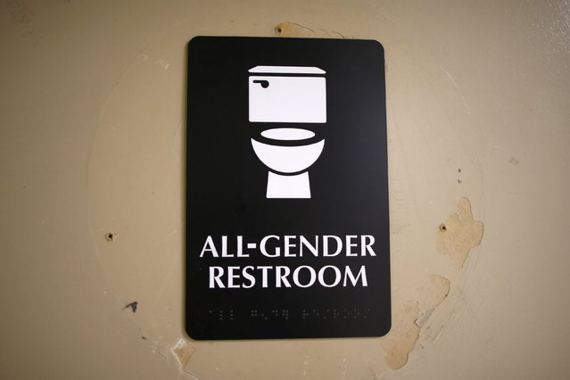 The first gender-neutral restroom in the Los Angeles school district is seen at Santee Education Complex high school in Los Angeles, California, U.S., April 18, 2016. (Photo by Lucy Nicholson/Reuters)
