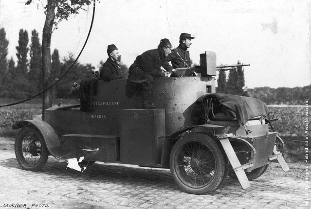 Belgian soldiers driving a Minerva armoured car during the First World War