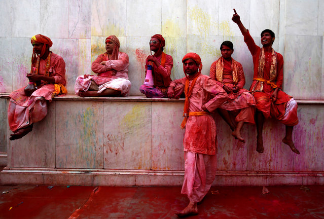 Hindu devotees take part in Holi in Nandgaon village, in the state of Uttar Pradesh, India, March 7, 2017. (Photo by Adnan Abidi/Reuters)