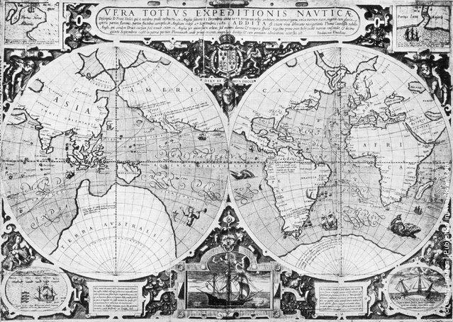 1595, Judocus Hondius' map showing Sir Francis Drake's voyage around the world
