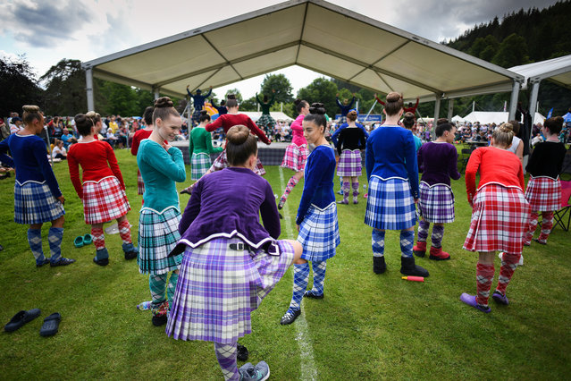 Highland dancers take part in the Inveraray Highland Games on July 16, 2019 in Inverarary, Scotland.The Games celebrate Scottish culture and heritage with field and track events, piping, highland dancing competitions and heavy events including the world championships for tossing the caber.(Photo by Jeff J. Mitchell/Getty Images)