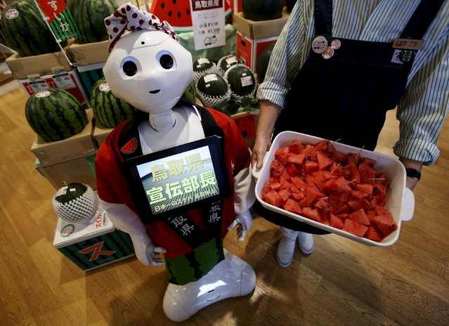 "SoftBank's human-like robot named ""Pepper"" poses for pictures in its role as a PR manager of Tottori prefecture at the prefecture speciality store in Tokyo, Japan, July 1, 2015. Pepper will work at the store until July 2, as the first workplace venue for  its temporary staffing service. (Photo by Yuya Shino/Reuters)"