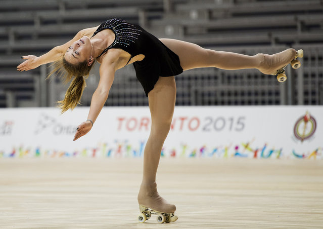 Canadian roller figure skater Kailah Macri practices her routine prior to the Pan Am Games in Toronto, Thursday, July 9, 2015. (Photo by Nathan Denette/The Canadian Press via AP Photo)