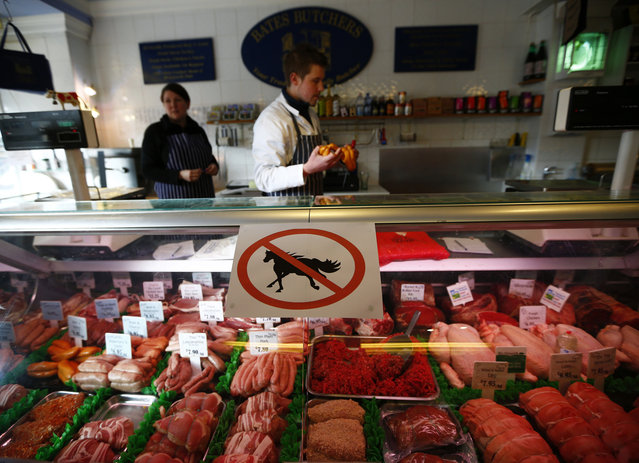 The horsemeat scandal broke in 2013 after genetic tests found traces of horsemeat in burgers sold at British and Irish supermarkets. Adulterated beef products were discovered across Europe, with suppliers in France and the Netherlands also found to have mislabeled horsemeat. France found more cases of illegal horsemeat in beef products than any other country, results of official DNA tests showed, with more than 1 in every 8 samples testing positive. (Photo by Darren Staples/Reuters)