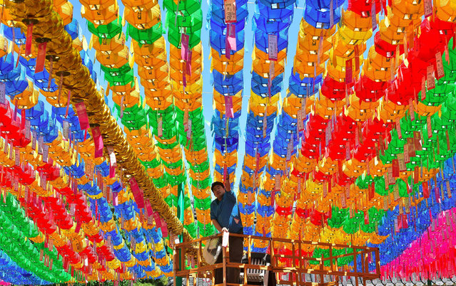A South Korean worker attaches name cards with wishes of Buddhist followers to lotus lanterns ahead of the Buddha's birthday at Jogye temple in Seoul on May 13, 2016. Buddhism is one of South Korea's largest and most active religions with millions of followers. Although the exact date is unknown, Buddha's official birthday is celebrated on April 8th of the lunar calendar – which equals to May 14 – in South Korea. (Photo by Jung Yeon-Je/AFP Photo)