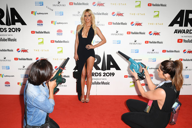 Australian singer Sophie Monk arrives for the 33rd Annual ARIA Awards 2019 at The Star on November 27, 2019 in Sydney, Australia. (Photo by Dan Himbrechts/AAP)