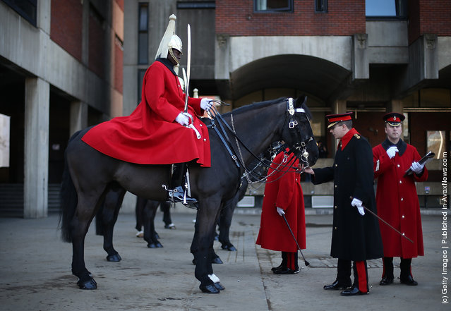 Parade inspection of The Household Cavalry Mounted Regiment (HCMR) takes place at Hyde Park Barracks