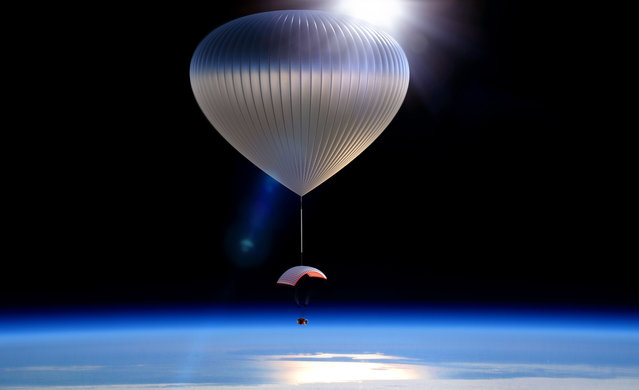 This artist rendering provided by World View Enterprises shows the World View Voyager balloon carrying a pressurized space capsule that will be transported to the edge of space. The Arizona company says it has successfully completed the first scale test flight of a high-altitude balloon and capsule being developed to take tourists to the edge of space. (Photo by AP Photo/World View Enterprises)