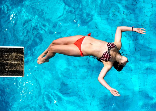 A girl jumps in to a swimming pool from a diving board as the sun shines in Berlin on July 31, 2014. (Photo by Daniel Bockwoldt/AFP Photo/DPA)