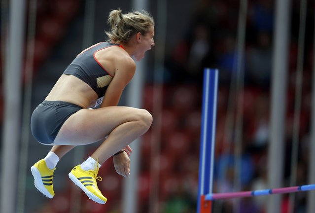 Carolin Schafer of Germany reacts after competing in the high jump event of women's heptathlon during the European Athletics Championships at the Letzigrund Stadium in Zurich August 14, 2014. (Photo by Phil Noble/Reuters)
