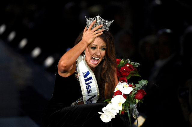 Miss North Dakota Cara Mund reacts after being announced as the winner of the 97th Miss America Competition in Atlantic City, New Jersey U.S. September 10, 2017. (Photo by Mark Makela/Reuters)