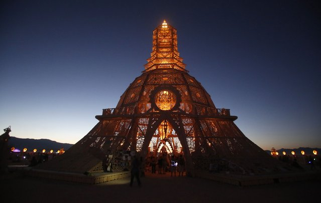 "The Temple of Grace is seen during the Burning Man 2014 ""Caravansary"" arts and music festival in the Black Rock Desert of Nevada, August 27, 2014. (Photo by Jim Urquhart/Reuters)"