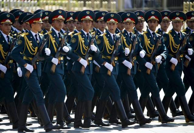 Tajikistan's soldiers march during the military parade marking the 70th anniversary of the end of World War Two, in Beijing, China, September 3, 2015. (Photo by Damir Sagolj/Reuters)