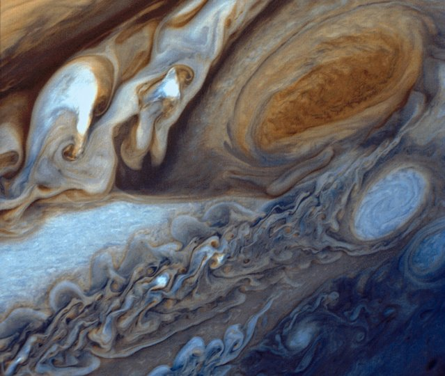 NASA's Voyager 1 took this photo of Jupiter's Great Red Spot in 1979. Scientists have long wondered why Jupiter's upper atmosphere has temperatures similar to those of Earth, even though the biggest planet in the solar system is five times farther away from the sun. The answer may be The Great Red Spot, an enormous storm big enough to swallow three Earths that has been raging on Jupiter for at least three centuries, a study showed on Wednesday.  (Photo by Reuters/NASA)
