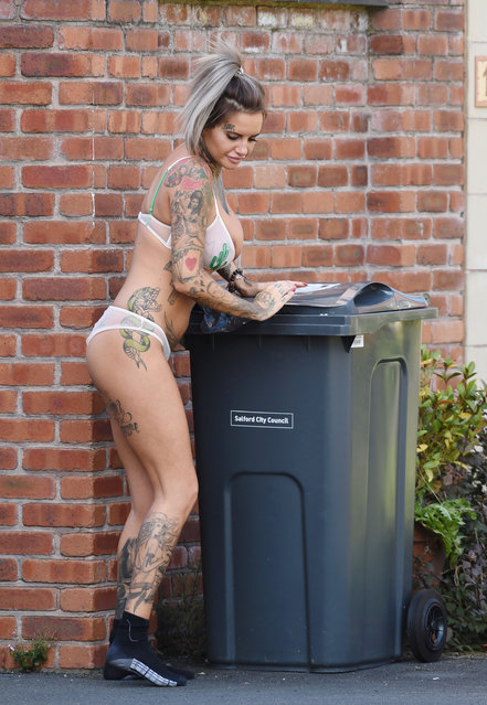 "MTV's ""Ex On The Beach"" star Jemma Lucy gives her neighbours an eyeful as she takes her bins out in her underwear in Manchester, UK on August 22, 2016. (Photo by XposurePhotos.com)"