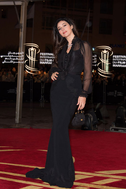 Italian Actress Monica Bellucci arrives for the tribute to Hindi cinema at the 12th Marrakech International Film Festival on November 30,Marrakech International 12th Film Festival on December 1, 2012 in Marrakech, Morocco. (Photo by Dominique Charriau)