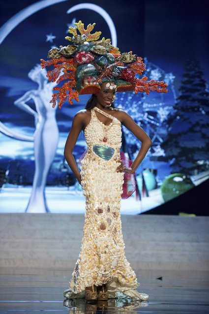 Miss British Virgin Islands Abigail Hyndman on stage at the 2012 Miss Universe National Costume Show on Friday, December 14, 2012 at PH Live in Las Vegas, Nevada. The 89 Miss Universe Contestants will compete for the Diamond Nexus Crown on December 19, 2012. (Photo by AP Photo/Miss Universe Organization L.P., LLLP)