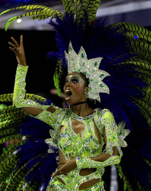 A dancer from the Vai-Vai samba school performs in Sao Paulo. (Photo by Andre Penner/Associated Press)