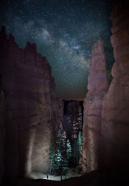 """A Lone Hiker Viewed the Path Before Him as the Milky Way Rose in the Night Sky"". Photo by Jason J. Hatfield (Lakewood, CO). Photographed in Bryce Canyon National Park, UT, May 2012."