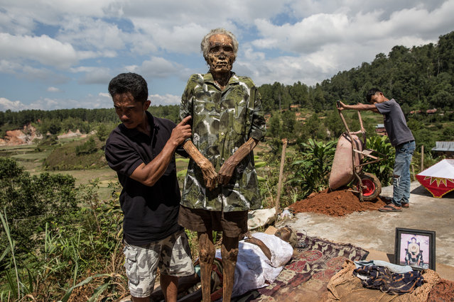 A man holds the corpse of Tang Diasik, who died 6 years ago, as he dries the corpse during the Ma'Nene ritual in Ba'Tan village, Toraja, South Sulawesi, Indonesia on August 23, 2016. (Photo by Agung Parameswara/The Washington Post)
