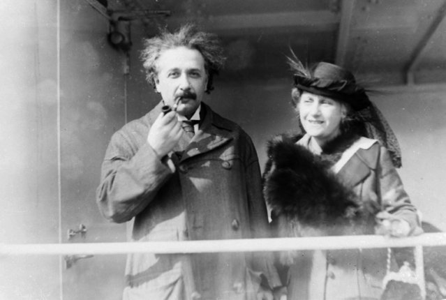 Professor Albert Einstein and his wife Elsa arrive from Palestine to raise funds for Zionism, April 4, 1921. (Photo by AP Photo)