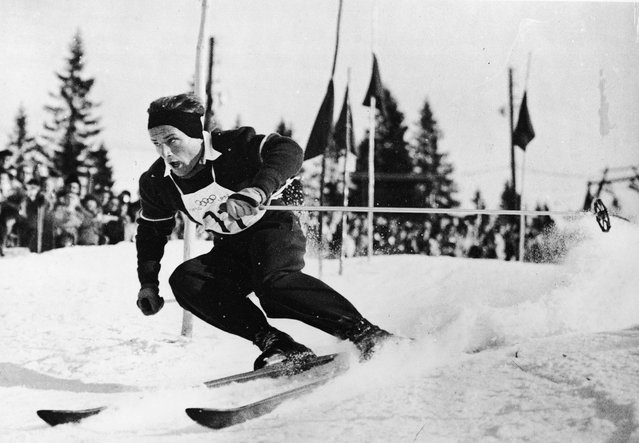 Austrian skier Othmar Schneider at speed as he wins the Men's Slalom during the VI Winter Olympic Games, Rodkleiva, Norway, February 21, 1952. (Photo by FPG/Getty Images)