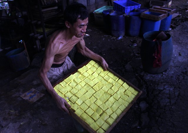 A  worker carries a tray of boiled tofu in a traditional tofu factory in Depok, Indonesia, 21 January 2015. (Photo by Adi Weda/EPA)