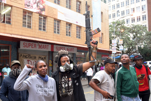VisualArtist Ayanda Mabulu at the Artist In Revolution commemoration in remembverance of the late Mthokozisi Ntumba who was shot by police during a student protest in the past week in Braamfontein, Johannesburg, 17 March 2021. (Photo by Nigel Sibanda)