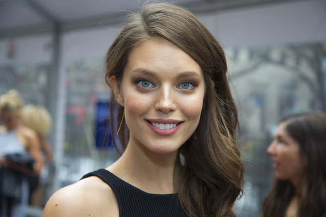 Sports Illustrated swimsuit model Emily DiDonato poses for a photo during the Sports Illustrated swimsuit issue at the SwimCity festival in New York City on Monday February 9, 2015. (Photo by Gordon Donovan/Yahoo News)