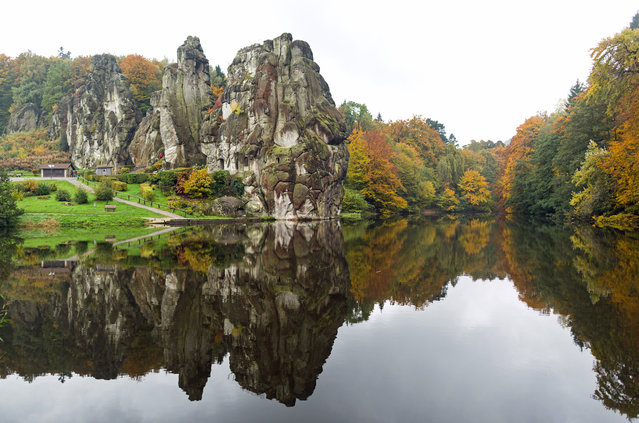 The rocks of the Teutoburger forest and trees are pictured on October 26, 2016 in Horn-Bad Meinberg, near Detmold. (Photo by Marcel Kusch/AFP Photo/DPA)