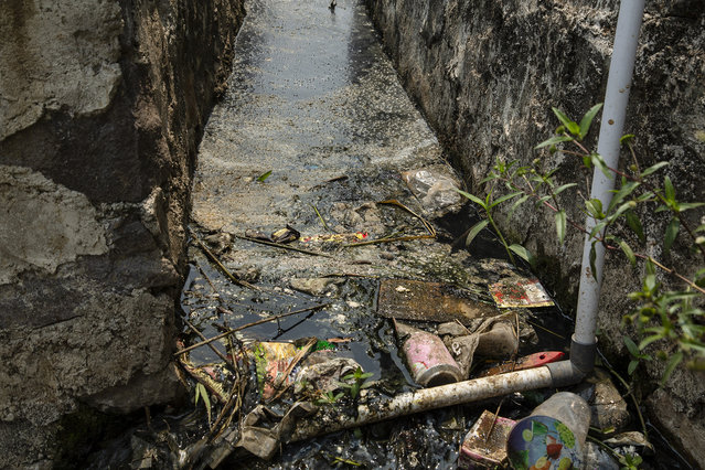 Plastic waste clogs a canal which drains in to a tributary of the Citarum river on August 27, 2018 in small village outside Bandung, Java, Indonesia. Despite the fact that the Citarum River has been named the world's most polluted river by the World Bank, around 28 million people in Indonesia depend on it for irrigation and electricity – as well as nearly 80 percent of the capital city's water supply. Based on reports, more than 20,000 tons of waste and 340,000 tons of wastewater are disposed of directly into the waterways of the third-biggest river in Java every day from thousands of textile factories, killing nearly 60 percent of the river's fish species and causing health problems for people who live along the banks of the polluted river. In recent years, the Indonesian government has vowed to clean the Citarum River as studies from environmental groups had found that levels of lead in the river reached 1,000 times the U.S. standard for drinking water, but the problem has persisted due to the lack of coordination, maintenance and enforcement. (Photo by Ed Wray/Getty Images)